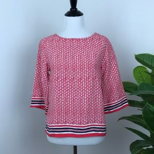 Ann Taylor red printed striped hem blouse